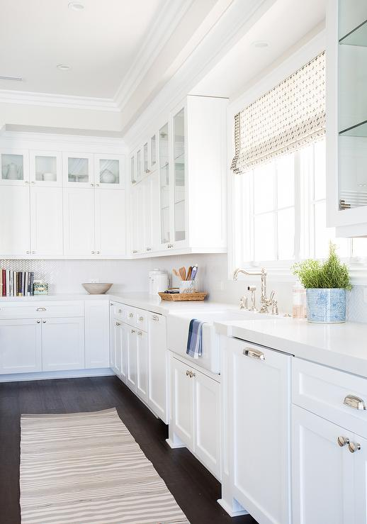 Crisp, White Kitchen with Dark Wood Floors